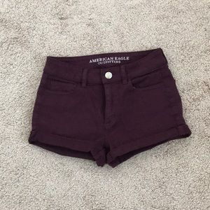 American Eagle maroon high waisted shorts 4